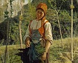 Giovanni Fattori, Contadina nel bosco. Oil on canvas
